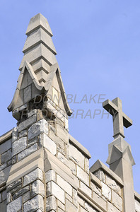 Several stones from one of the four spires fell from St. Thomas the Apostle Church in Wilmington, Del, during the magnitude 5.8 earthquake that shook the east coast, Tuesday, August 23, 2011. The Dialog/Don Blake