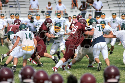 St. Mark's defender tracks down Concord's ball carrier as St. Mark's hosted Concord in their first scrimmage in preparation for the start of the high school football season. The Dialog/Don Blake