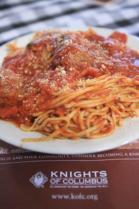 Spaghetti with sauce at the Knights of Columbus Hall during their spaghetti dinner night. www.DonBlakePhotography.com