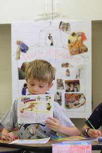 Second grader Kevin Callahan reads his hand out during summer religious education class prep at St. Mary of the Assumption, Wednesday, August 15, 2012. photo/www.DonBlakePhotography.com