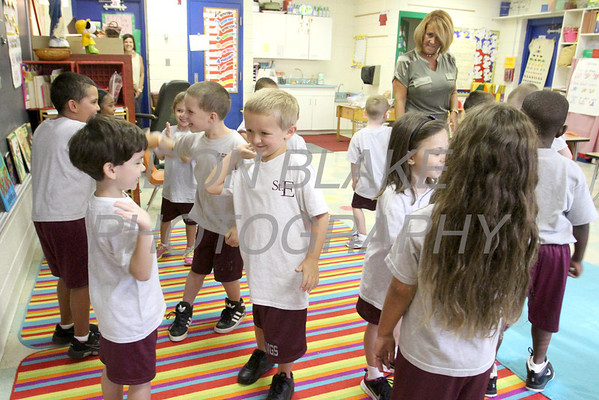 Kindergarten students participate in a group activity at St. Elizabeth Elementary School. wwwDonBlakePhotography.com