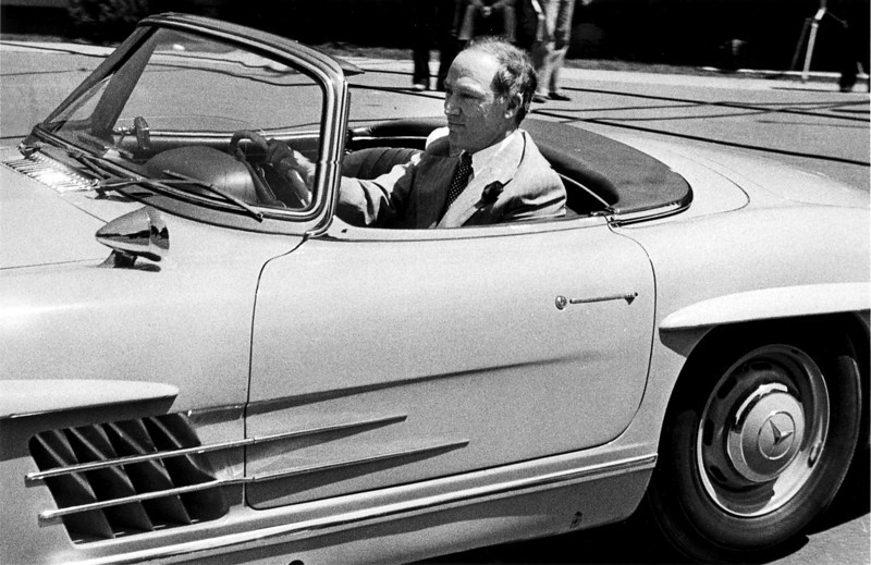 Pierre Trudeau drives away from Government House June 4, 1979, in his Mercedes sports car after resigning as prime minister. (CP PHOTO/Fred Chartrand)