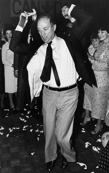 Prime Minister Pierre Trudeau dances a jive to some rock and roll music after addressing the Quebec wing of the the Federal Liberal Party convention in Quebec City Saturday, Nov. 14, 1981. (CP PHOTO/Fred Chartrand)
