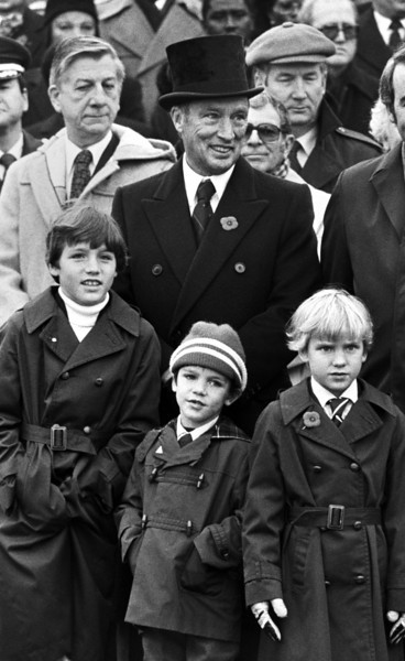 Prime Minister Pierre Trudeau attends the Remembrance Day ceremonies with his three sons, from left, Justin, Michel and Sacha on November 11, 1981 in Ottawa. The Canadian Press Images/Fred Chartrand
