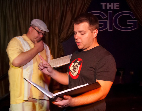 """Cast members Brad Huckabay, left, and  Jacob Wills rehearse for Studio 33's production of """"I love you, You're Perfect, Now Change"""" at the Gig in June.<br /> Photo/Scott Eslinger  -  ©2013 Eslinger Photographics"""