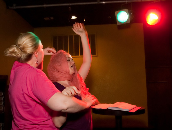 """Cast members Ashley Riley, left, and Amber Lanning rehearse for Studio 33's production of """"I love you, You're Perfect, Now Change"""" at the Gig in June.<br /> Photo/Scott Eslinger  -  ©2013 Eslinger Photographics"""
