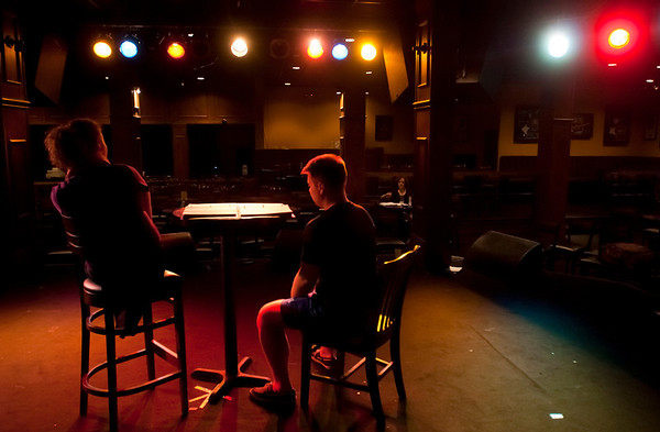 """Cast members Amber Lanning, left, and Jacob Wills rehearse for Studio 33's production of """"I love you, You're Perfect, Now Change"""" at the Gig in June.<br /> Photo/Scott Eslinger  -  ©2013 Eslinger Photographics"""