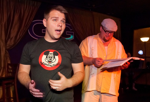 """Cast members Jacob Wills, left, and Brad Huckabay rehearse for Studio 33's production of """"I love you, You're Perfect, Now Change"""" at the Gig in June.<br /> Photo/Scott Eslinger  -  ©2013 Eslinger Photographics"""