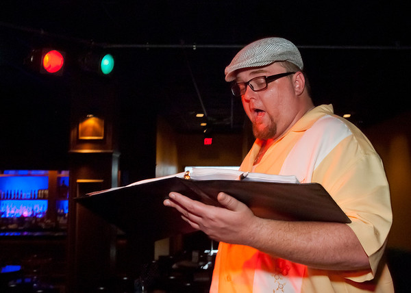 """Cast member Brad Huckabay singes as he rehearses for Studio 33's production of """"I love you, You're Perfect, Now Change"""" at the Gig in June.<br /> Photo/Scott Eslinger  -  ©2013 Eslinger Photographics"""