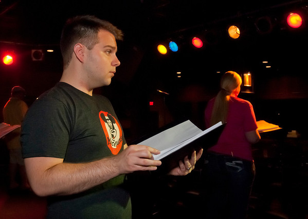 """Cast member Jacob Wills rehearses for Studio 33's production of """"I love you, You're Perfect, Now Change"""" at the Gig in June.<br /> Photo/Scott Eslinger  -  ©2013 Eslinger Photographics"""