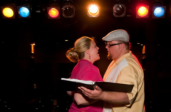 """Cast members Brad Huckabay, left, and  Ashley Riley rehearse for Studio 33's production of """"I love you, You're Perfect, Now Change"""" at the Gig in June.<br /> Photo/Scott Eslinger  -  ©2013 Eslinger Photographics"""