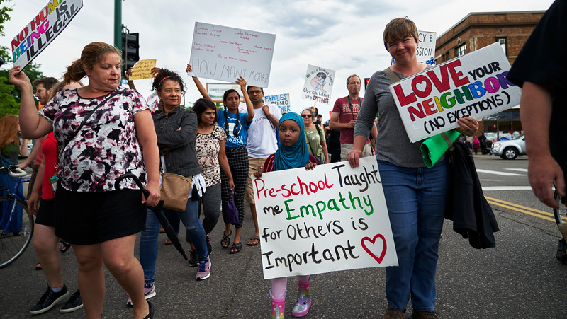 Protesters gathered on June 30th in Minneapolis to oppose the separation of children from their families and the living conditions that children are being kept in on the southern border.