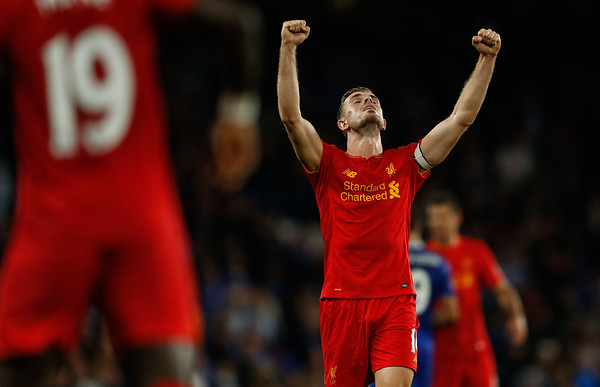 Jordan Henderson of Liverpool celebrates