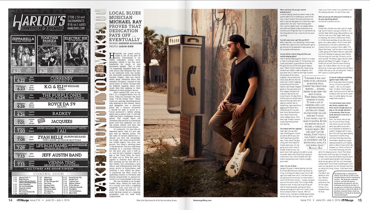 Portrait of blues guitarist Michael Ray, taken for Submerge Magazine.