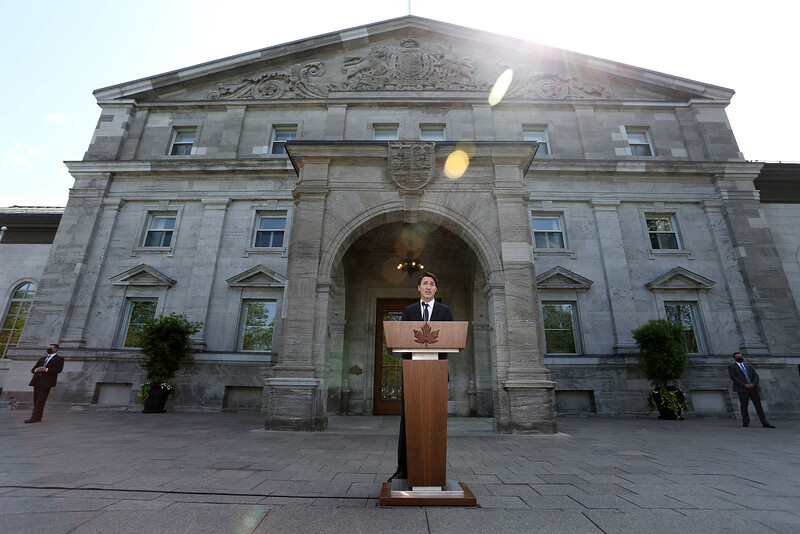 Canada's Prime Minister Justin Trudeau speaks during a news conference at Rideau Hall after asking Governor General Mary Simon to dissolve Parliament.
