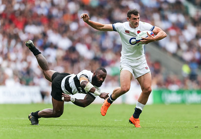 England's Jonny May and The Barbarians' Semi Radradra