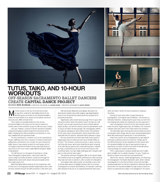 Photographs of Sacramento Ballet dancers taken for Submerge Magazine.