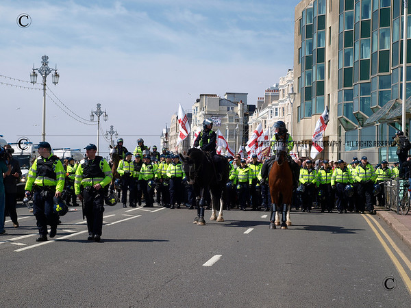 March for England meet Anti-fascist in Brighton where MFE celebrate St George