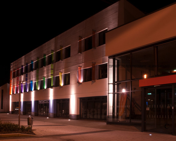 Night Photography of main entrance to Northbrook's Broadwater Campus