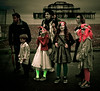 A family of Zombies arriving at the gathering point near the West Pier in Brighton.