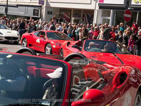 Ferrari Friday.  Now a feature of Horsham; the coming together of Farrari cars and Ducati Bikes