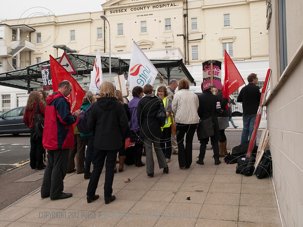 Unite Union members demonstrating in Brighton outside the Royal Sussex County Hospital about pension changes.