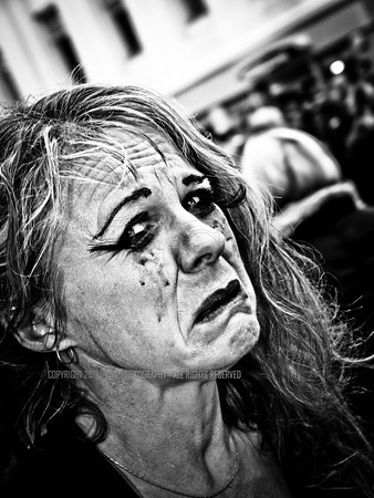 A scared Zombie with running makeup in West Street Brighton.