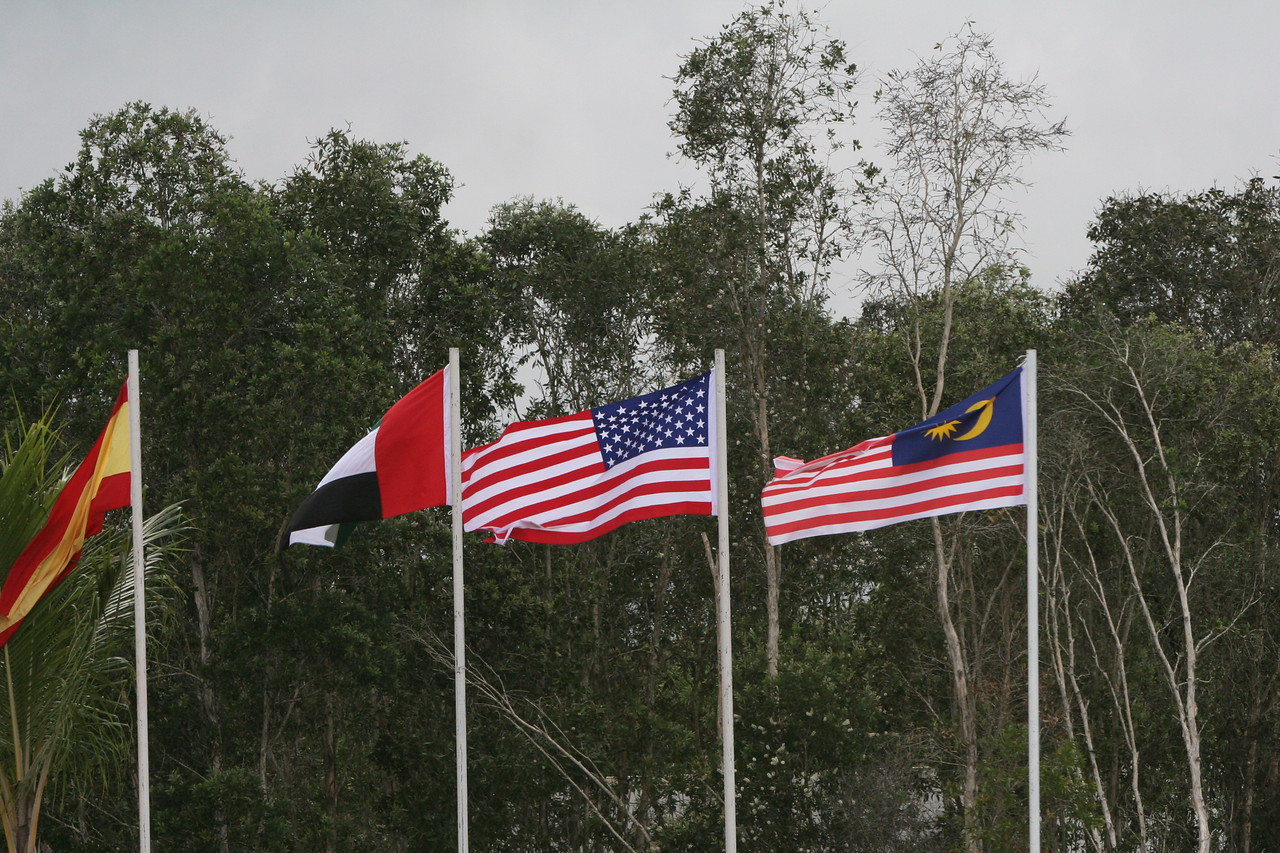 1. Malaysian flag (rt) similar to US flag.