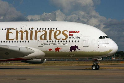 Emirates Airline Airbus A380-861 A6-EDG (msn 023) (United for Wildlife) LHR (SPA). Image: 935225.