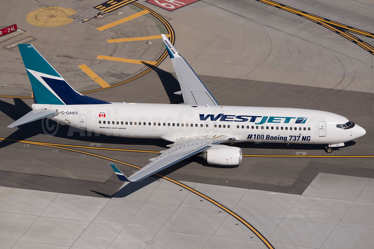 WestJet Airlines Boeing 737-8CT WL C-GAWS (msn 38880) (#100 Boeing 737 NG) LAX (Wingnut). Image: 922442.