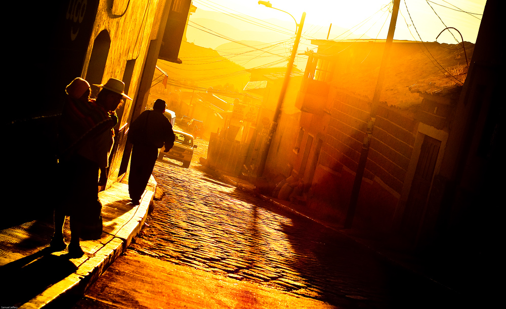 Sunset on the streets of Potosi, Bolivia | Travel Photo