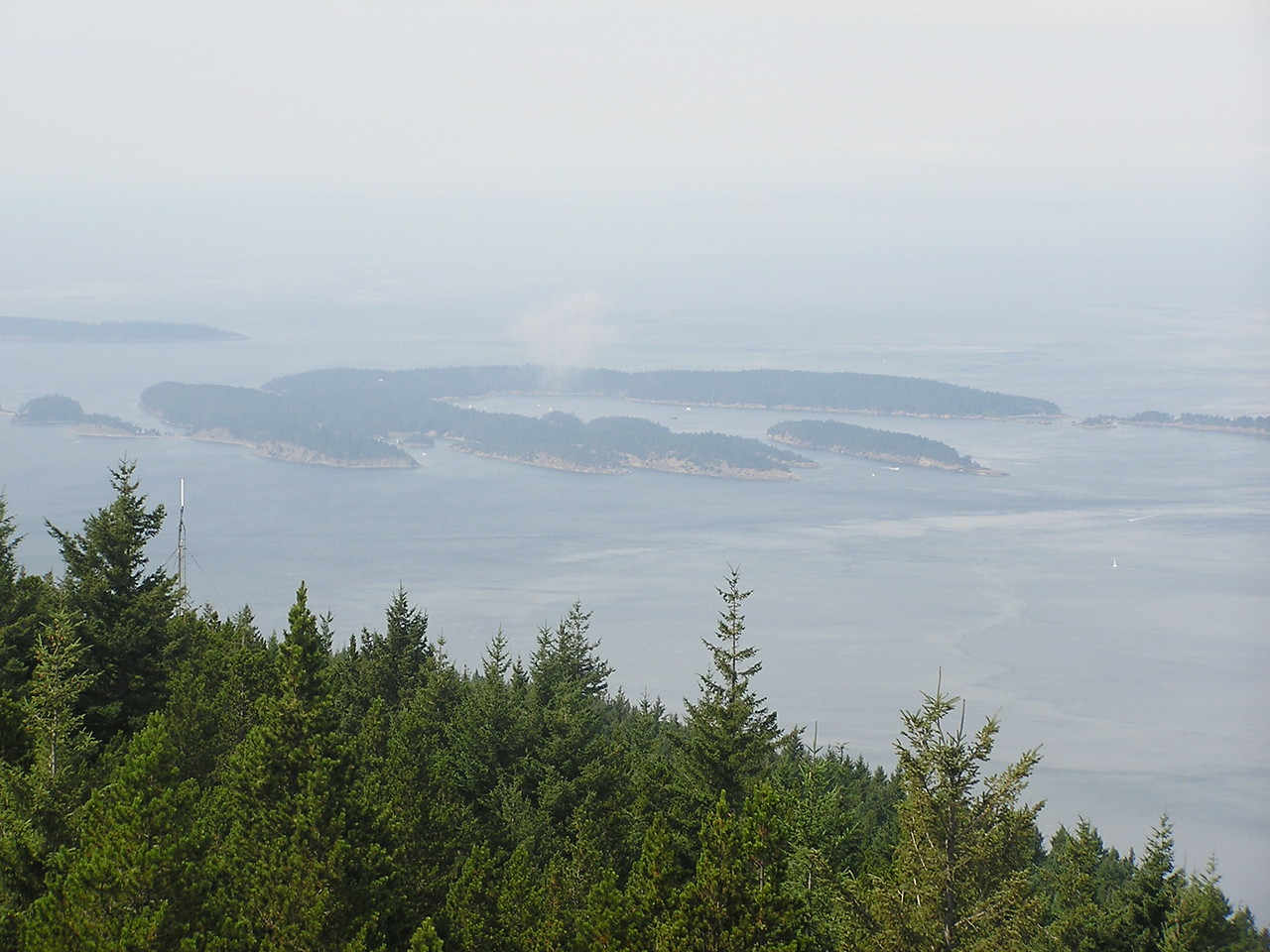 Sucia Island from the lookout tower on top of Mt Constitution on Orcas Island.