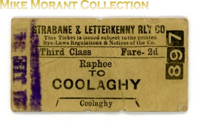 Strabane & Letterkenney Railway 3rd class single ticket from Raphoe to Coolaghy dated June 21st, 1934.<br> [<i>Mike Morant collection</i>]
