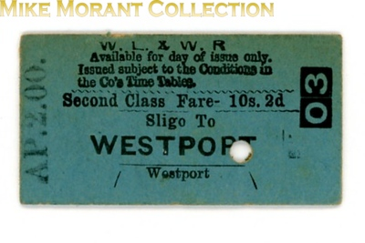Waterford Limerick and Western Railway second class single ticket from Sligo to WESTPORT dated AP.2.00.