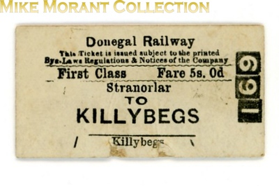 Donegal Railway 1st class single ticket from Stranorlar to Killeybegs.<br> [<i>Mike Morant collection</i>