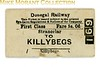 Donegal Railway 1st class single ticket from Stranorlar to Killeybegs.<br> [<i>Mike Morant collection</i>]