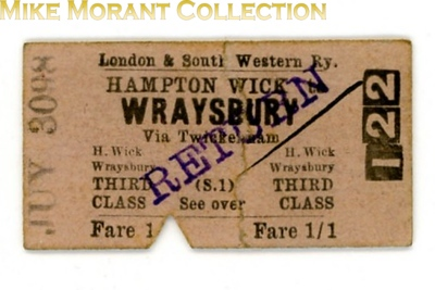 London & South Western railway third class single ticket from Hampton Wick to Wraysbury via Twickenham overstamped RETURN and not dated so probably an audit issue.