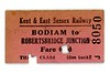 KESR, Kent &amp; East Sussex Railway, 3rd class single ticket from Bodiam to Robertsbridge Junction issued on 21/9/194?.<br> [<i>Mike Morant collection</i>]