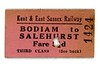 KESR, Kent &amp; East Sussex Railway, 3rd class single ticket from Bodiam to Salehurst issued on 2/1/1945.<br> [<i>Mike Morant collection</i>]