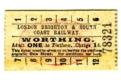 Edmondson_ticket_LBSCR_London_Brighton_and_South_Coast_Railway_platform_Worthing_1