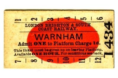 Edmondson_ticket_LBSCR_London_Brighton_and_South_Coast_Railway_platform_Warnham_1