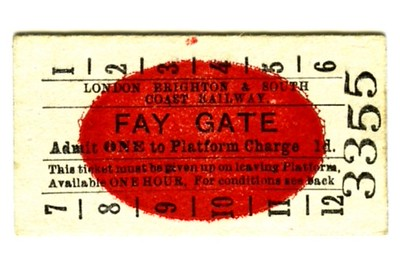 Edmondson_ticket_LBSCR_London_Brighton_and_South_Coast_Railway_platform_Fay_Gate_1