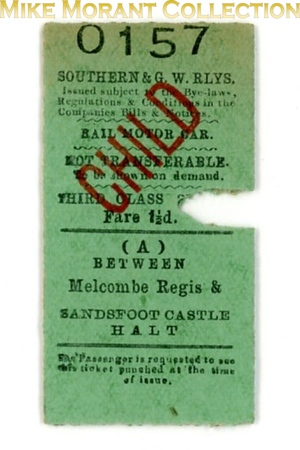 Southern & GW Railways railmotor return ticket from  Melcombe Regis to Sandsfoot Castle Halt on the Portland branch.<br> [<i>Mike Morant collection</i>