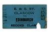 Edinburgh & Glasgow Railway second class single ticket from Glasgow to Edinburgh.<br /> [Mike Morant collection]