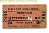 Kent and east Sussex  Railway third class single ticket from Northiam to Wittersham Road dated 1/9/1944.
