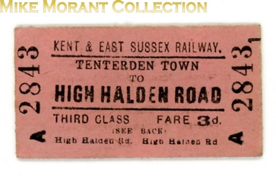 Kent and east Sussex  Railway third class single ticket from Tenterden Town to High Halden Road dated 1939.