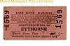 East Kent Railway third class single ticket from Shepherdswell to Eythorne. Dated but not legible.
