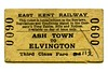 East Kent Railway third class single ticket from Ash Town to Elvington dated 24/6/1942.<br> [<i>Mike Morant collection</i>]