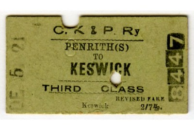 Edmondson_ticket_CKPR_Cockermouth_Keswick_and_Penrith_Railway_single_3rd_third_class_Penrith_to_Keswick_1