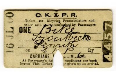 Edmondson_ticket_CKPR_Cockermouth_Keswick_and_Penrith_Railway_single_article_bicycle_perambulator_Troutbeck_to_Penrith_1